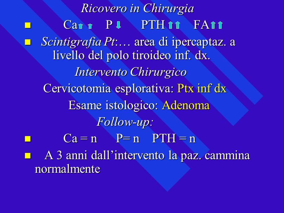 Ricovero in Chirurgia Ca P PTH FA. Scintigrafia Pt:… area di ipercaptaz. a livello del polo tiroideo inf. dx.