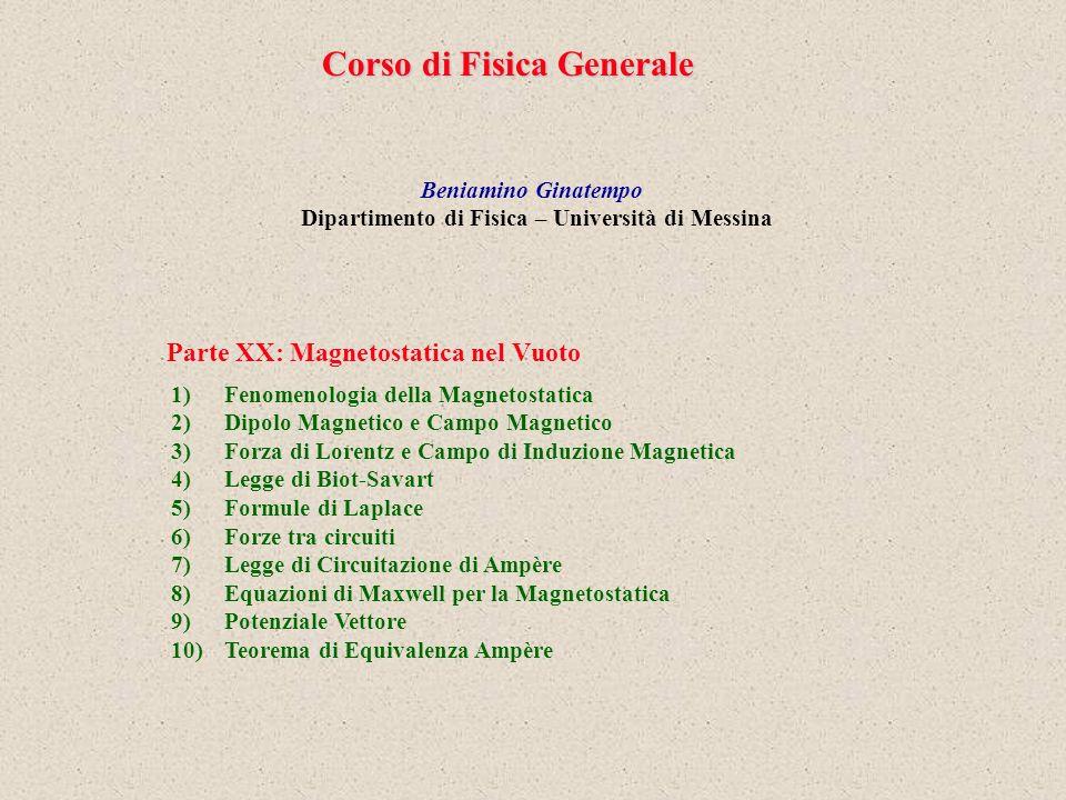 Parte XX: Magnetostatica nel Vuoto