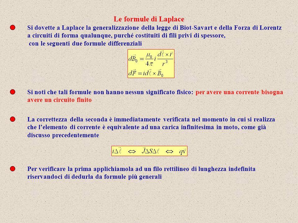 Le formule di Laplace Si dovette a Laplace la generalizzazione della legge di Biot-Savart e della Forza di Lorentz.