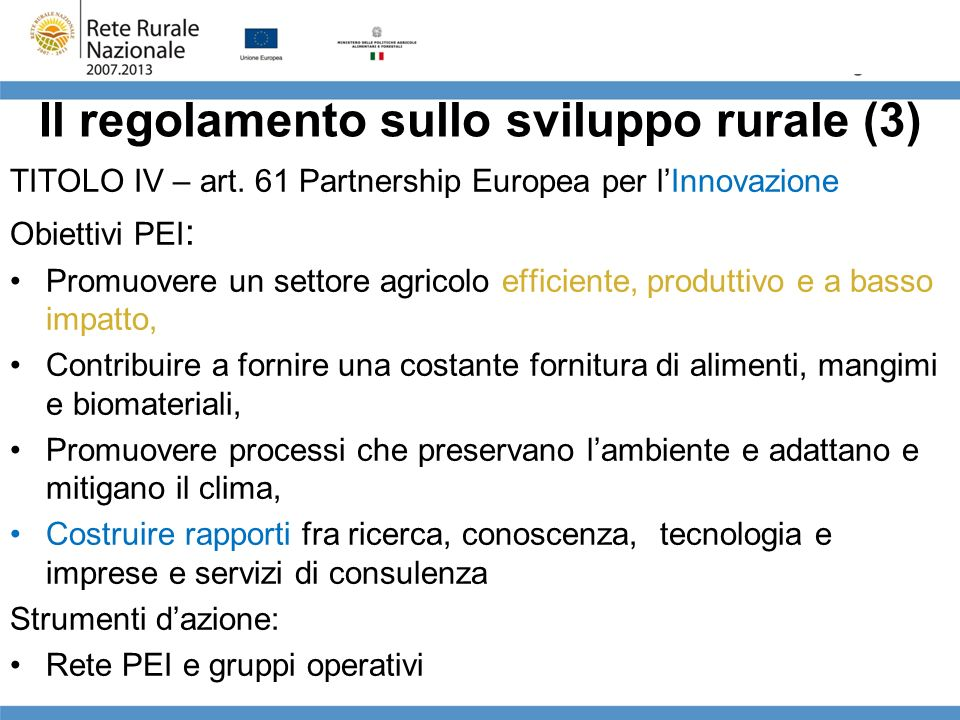 Il regolamento sullo sviluppo rurale (3)