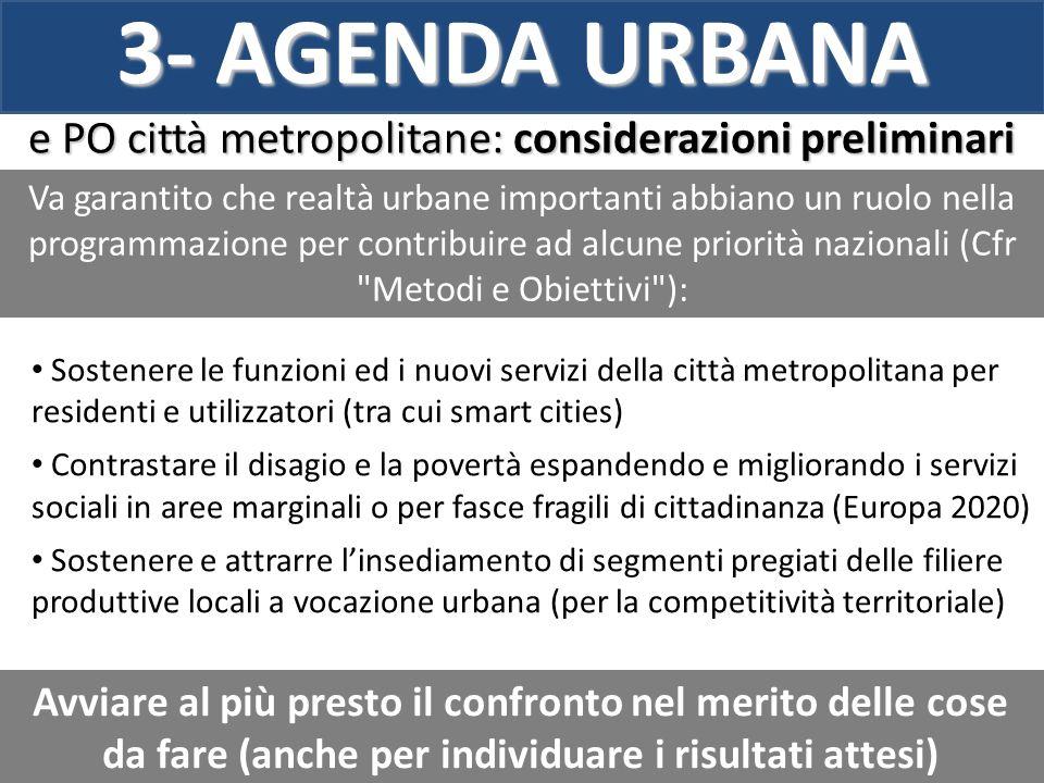 e PO città metropolitane: considerazioni preliminari