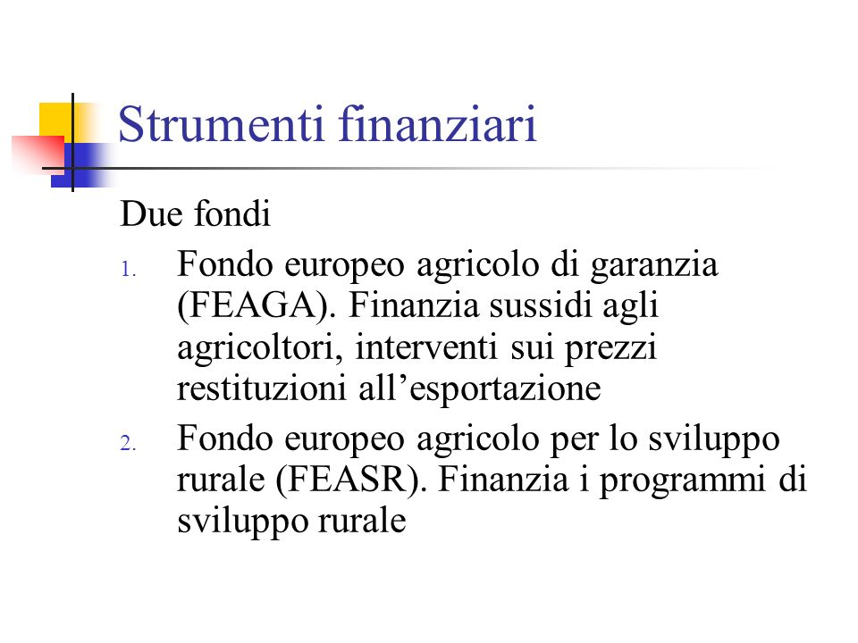 Strumenti finanziari Due fondi