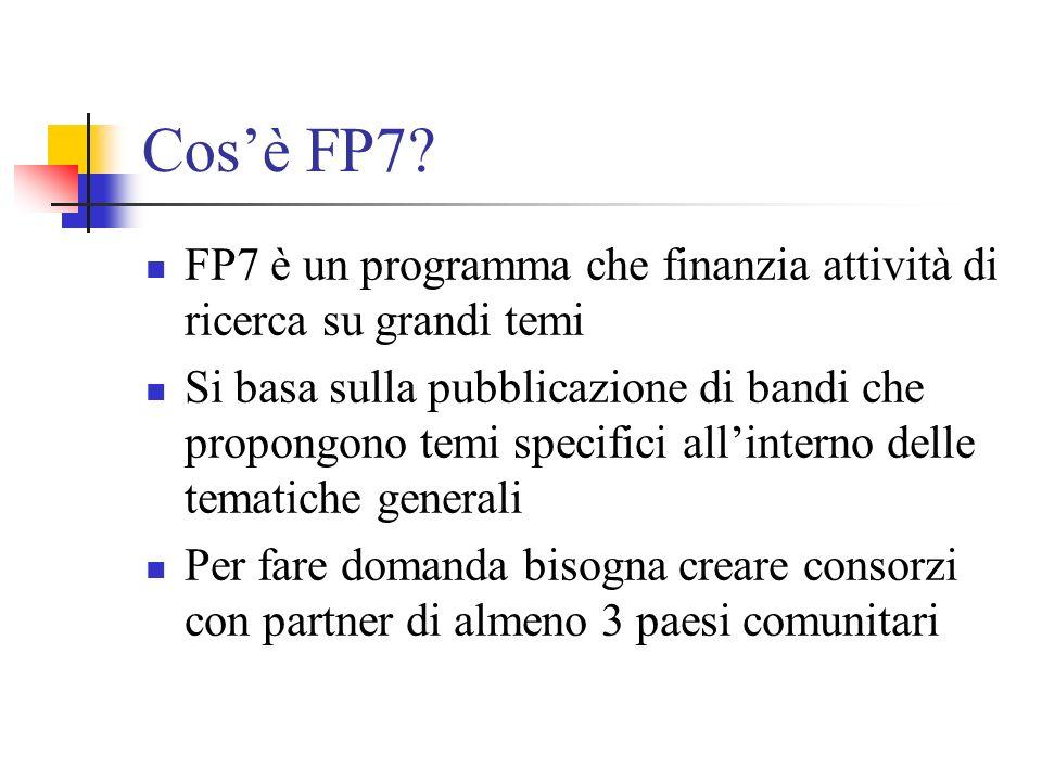 Cos'è FP7 FP7 è un programma che finanzia attività di ricerca su grandi temi.