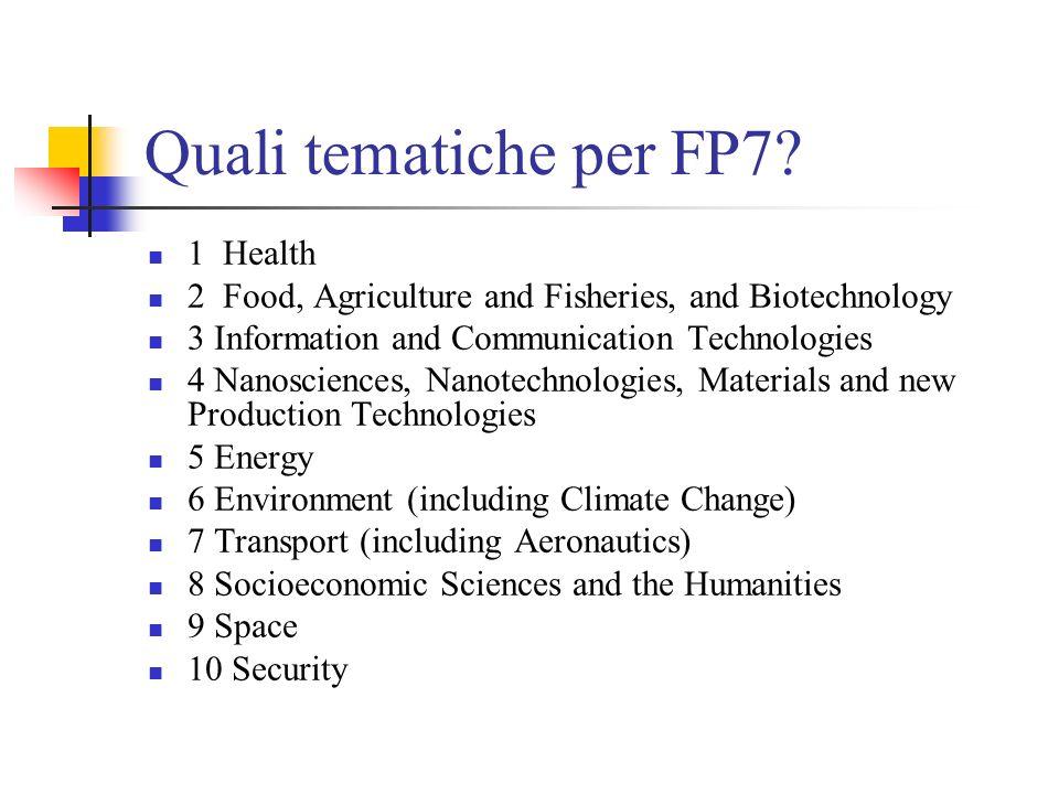 Quali tematiche per FP7 1 Health