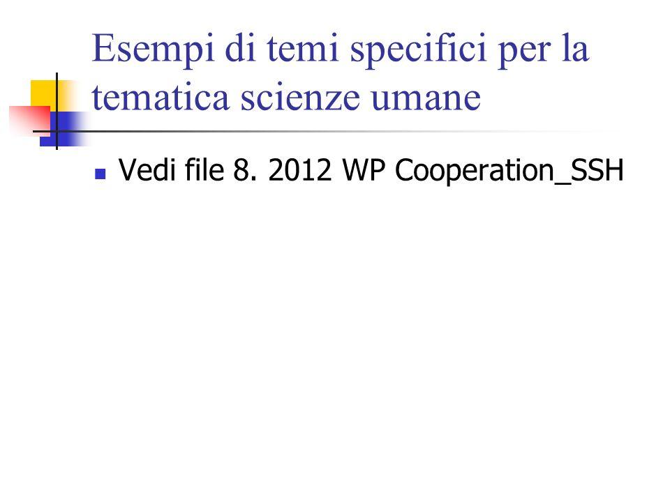 Esempi di temi specifici per la tematica scienze umane