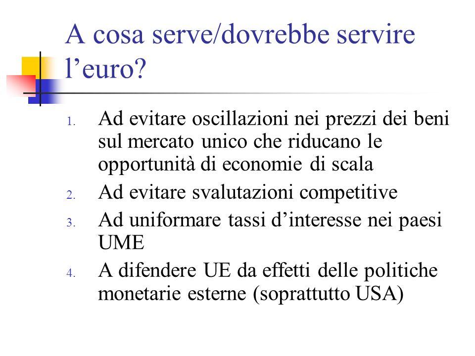 A cosa serve/dovrebbe servire l'euro