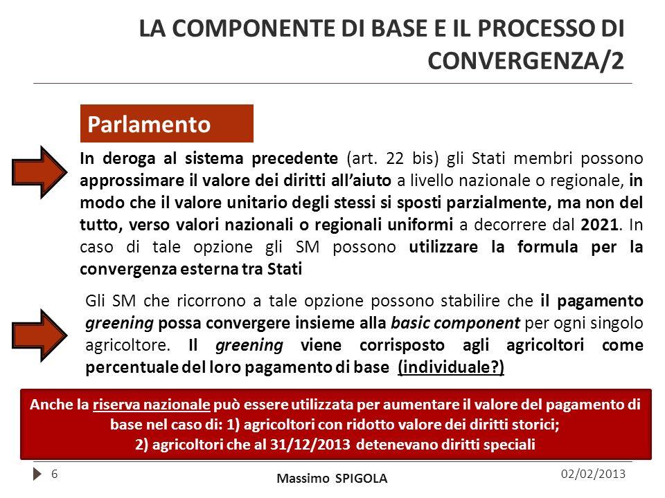 LA COMPONENTE DI BASE E IL PROCESSO DI CONVERGENZA/2