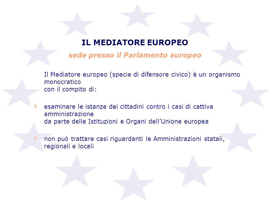 IL MEDIATORE EUROPEO sede presso il Parlamento europeo