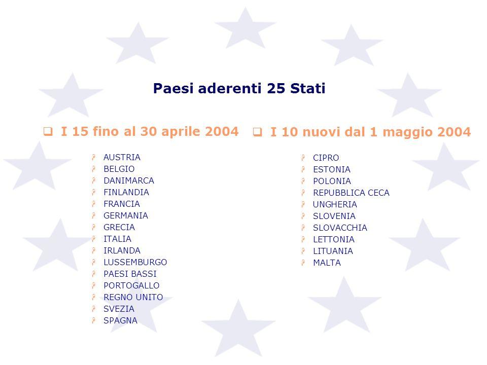 Paesi aderenti 25 Stati I 15 fino al 30 aprile 2004