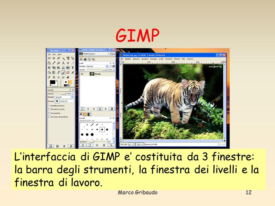 GIMP L'interfaccia di GIMP e' costituita da 3 finestre: la barra degli strumenti, la finestra dei livelli e la finestra di lavoro.