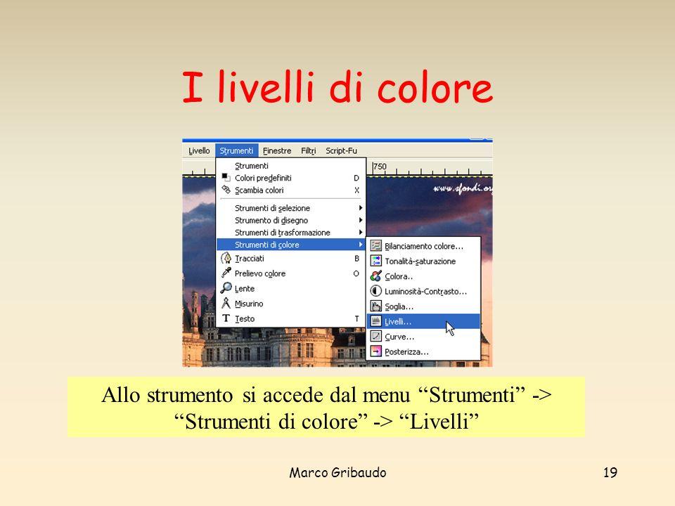 I livelli di colore Allo strumento si accede dal menu Strumenti -> Strumenti di colore -> Livelli