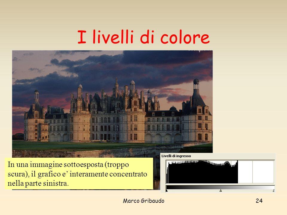I livelli di colore In una immagine sottoesposta (troppo scura), il grafico e' interamente concentrato nella parte sinistra.