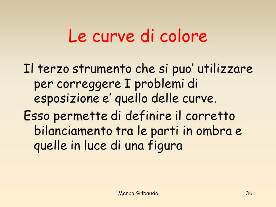 Le curve di colore Il terzo strumento che si puo' utilizzare per correggere I problemi di esposizione e' quello delle curve.