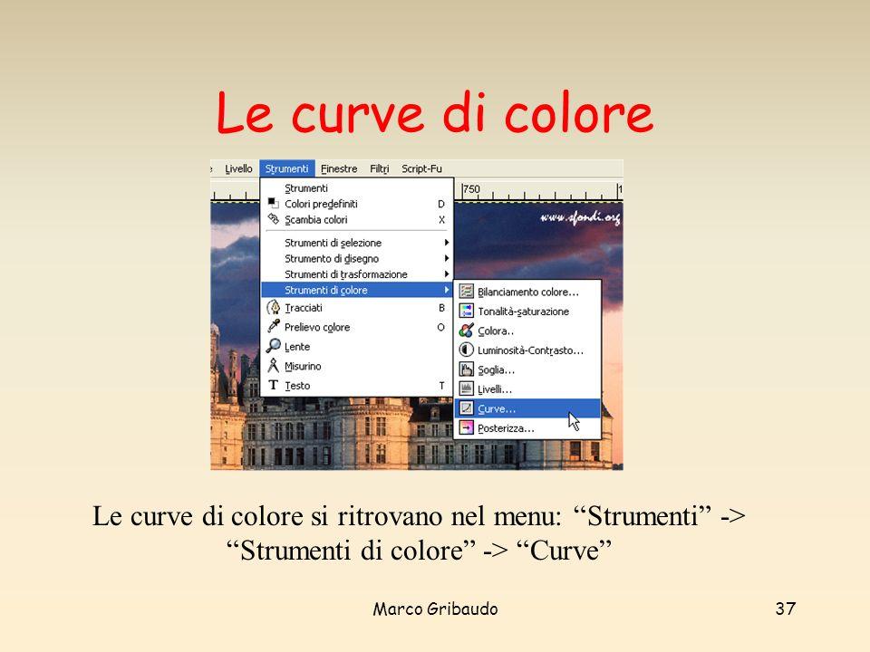 Le curve di colore Le curve di colore si ritrovano dal menu: Strumenti -> Strumenti di colore -> Curve
