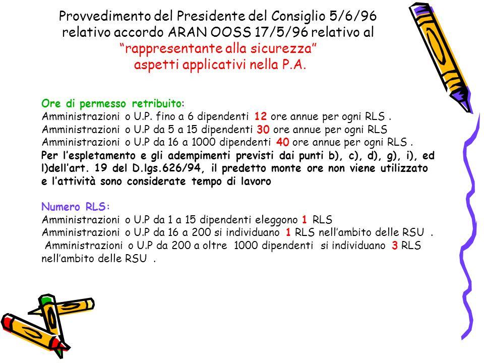 Provvedimento del Presidente del Consiglio 5/6/96 relativo accordo ARAN OOSS 17/5/96 relativo al rappresentante alla sicurezza aspetti applicativi nella P.A.