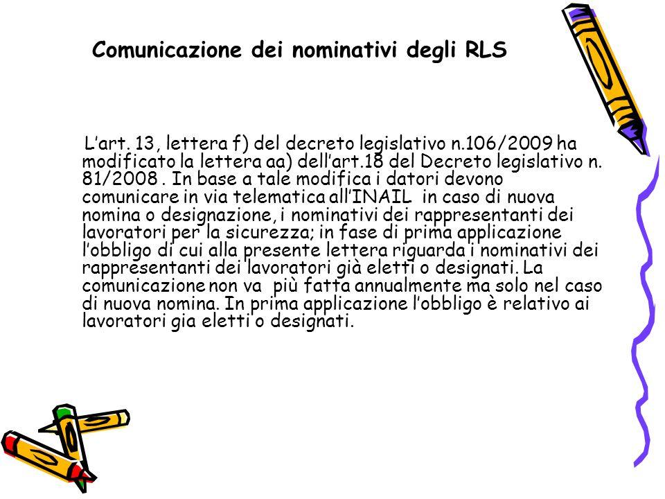 Comunicazione dei nominativi degli RLS