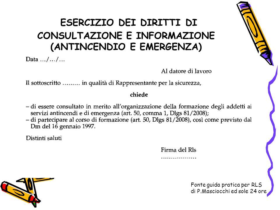 ESERCIZIO DEI DIRITTI DI CONSULTAZIONE E INFORMAZIONE (ANTINCENDIO E EMERGENZA)