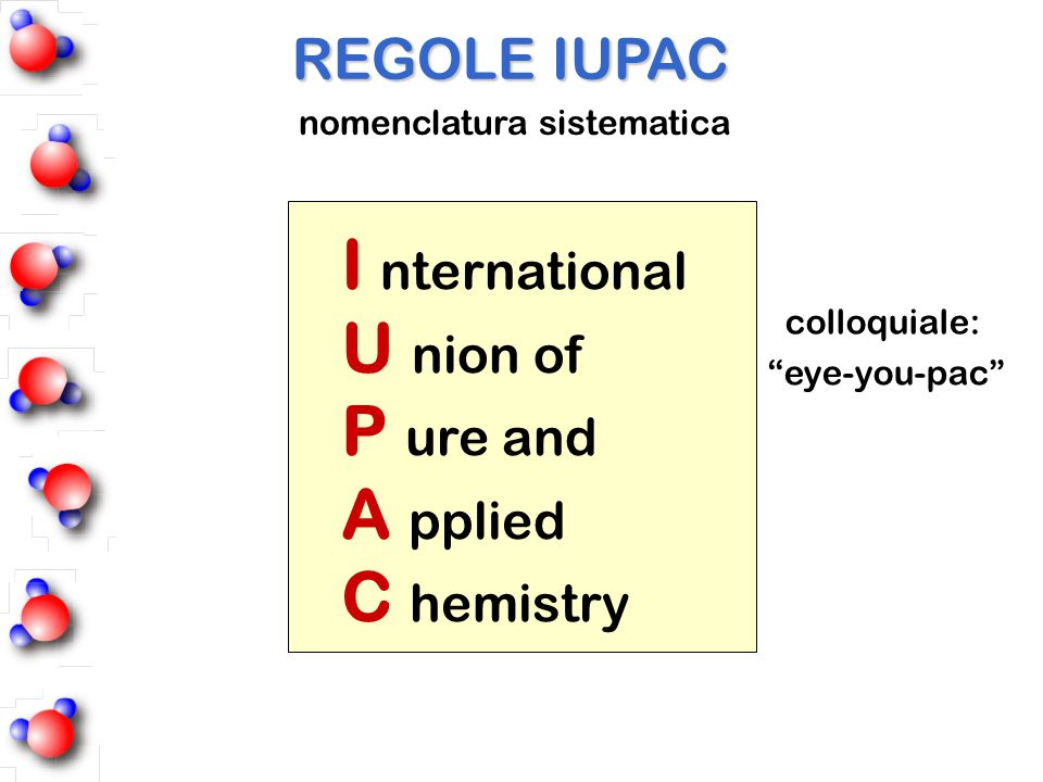I nternational U nion of P ure and A pplied C hemistry REGOLE IUPAC