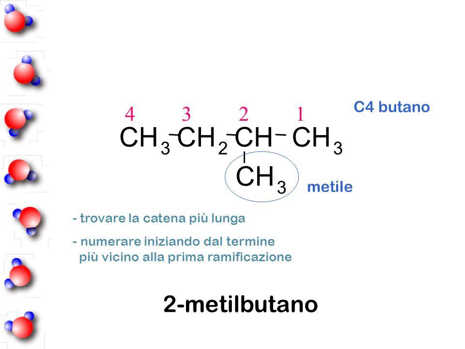 C H 2-metilbutano 4 3 2 1 3 2 C4 butano metile
