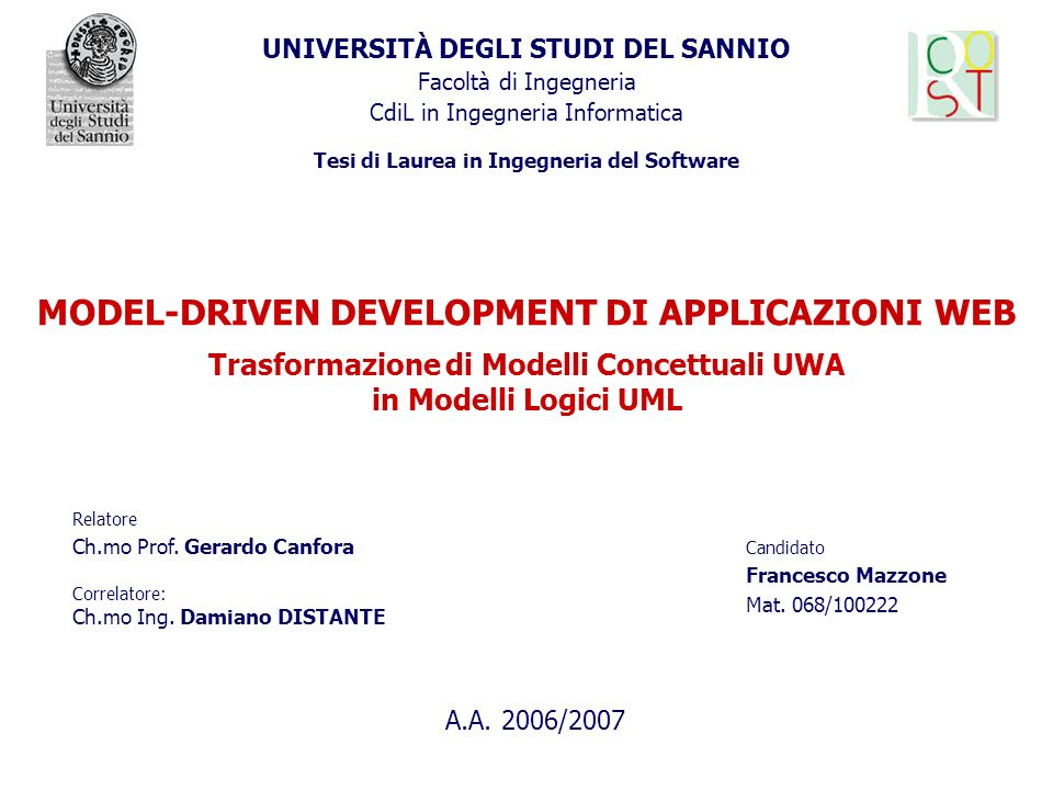 MODEL-DRIVEN DEVELOPMENT DI APPLICAZIONI WEB