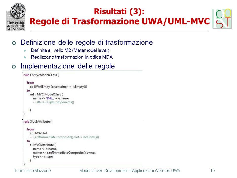 Risultati (3): Regole di Trasformazione UWA/UML-MVC