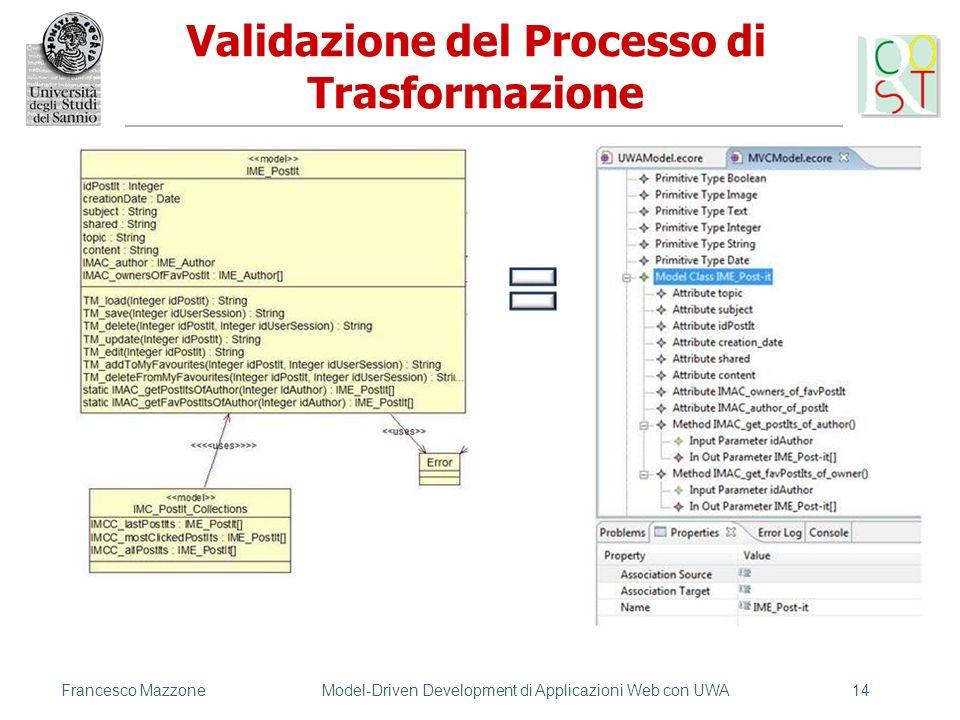 Validazione del Processo di Trasformazione