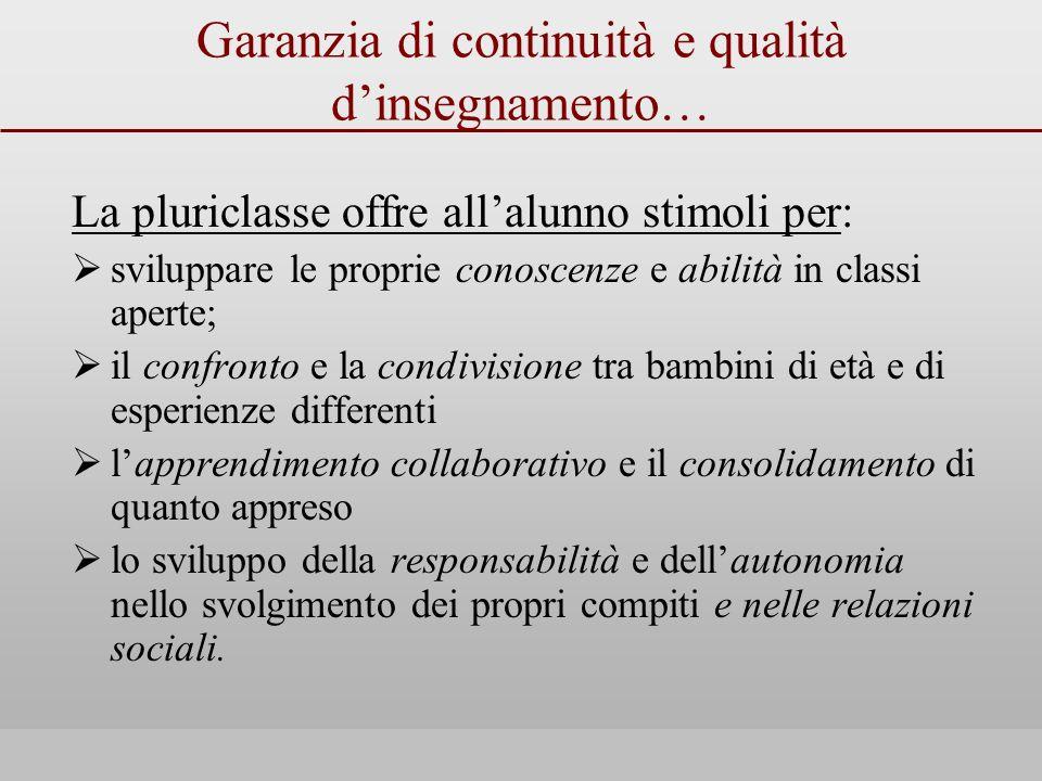Garanzia di continuità e qualità d'insegnamento…