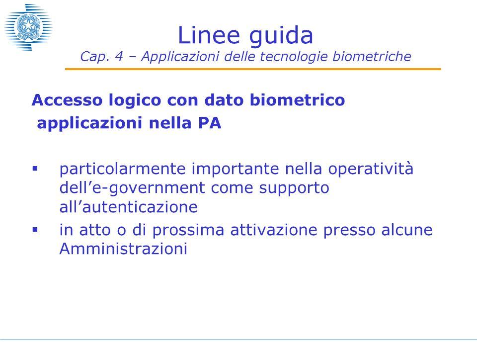 Linee guida Cap. 4 – Applicazioni delle tecnologie biometriche