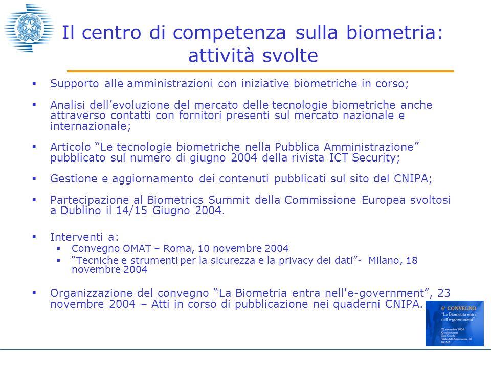 Il centro di competenza sulla biometria: attività svolte