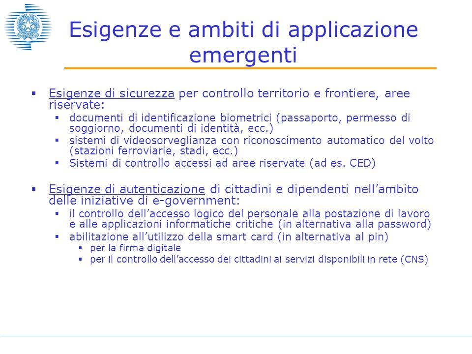 Esigenze e ambiti di applicazione emergenti