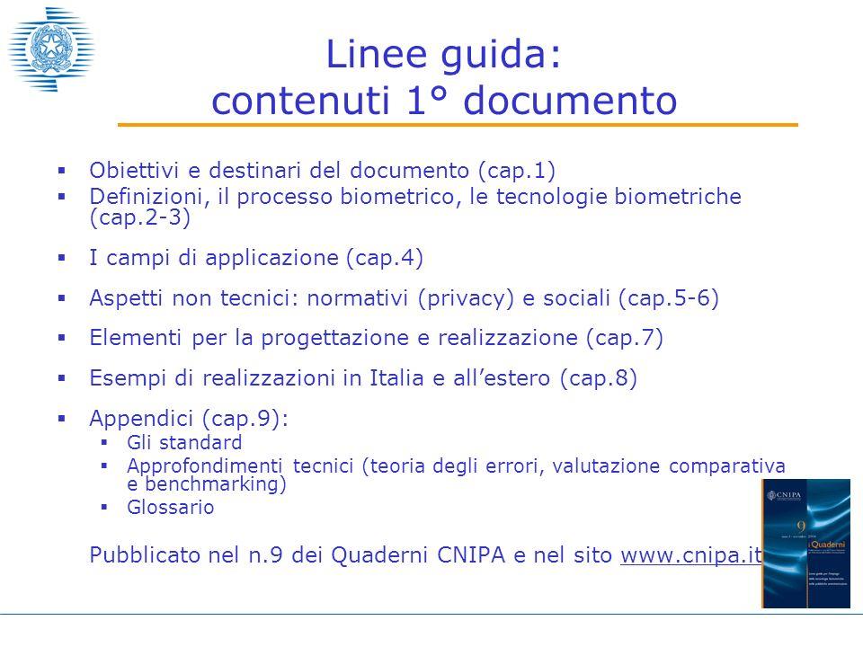 Linee guida: contenuti 1° documento