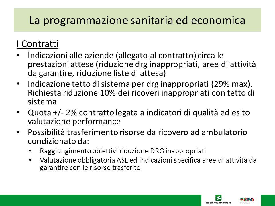 La programmazione sanitaria ed economica