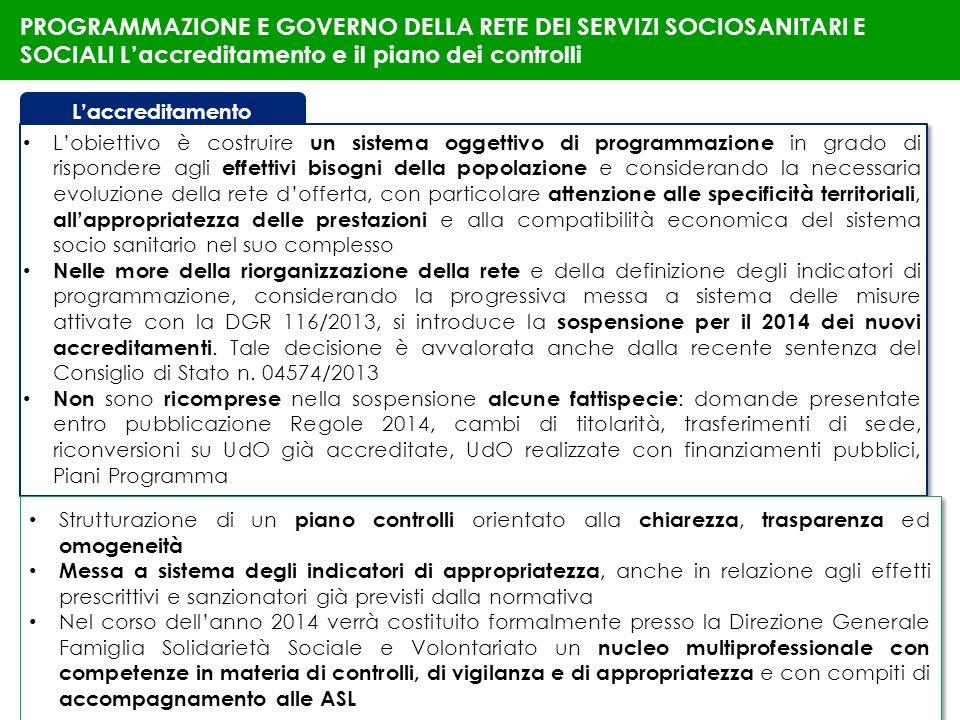 PROGRAMMAZIONE E GOVERNO DELLA RETE DEI SERVIZI SOCIOSANITARI E SOCIALI L'accreditamento e il piano dei controlli