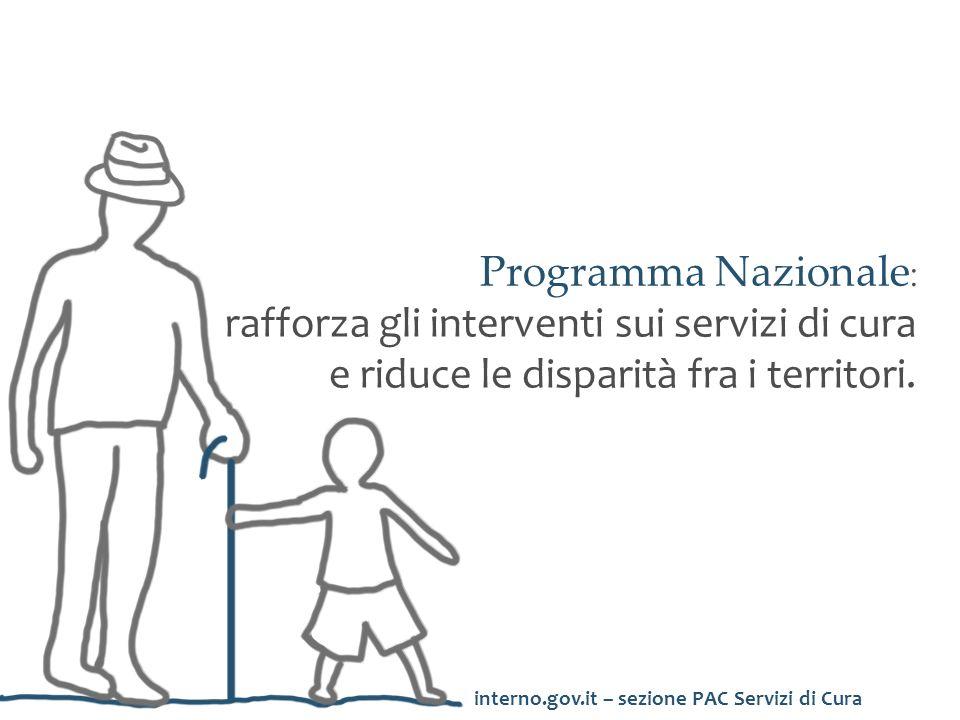 Programma Nazionale: rafforza gli interventi sui servizi di cura