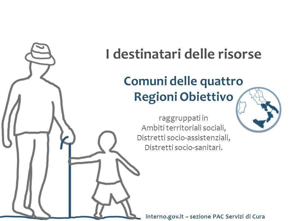 I destinatari delle risorse Comuni delle quattro Regioni Obiettivo