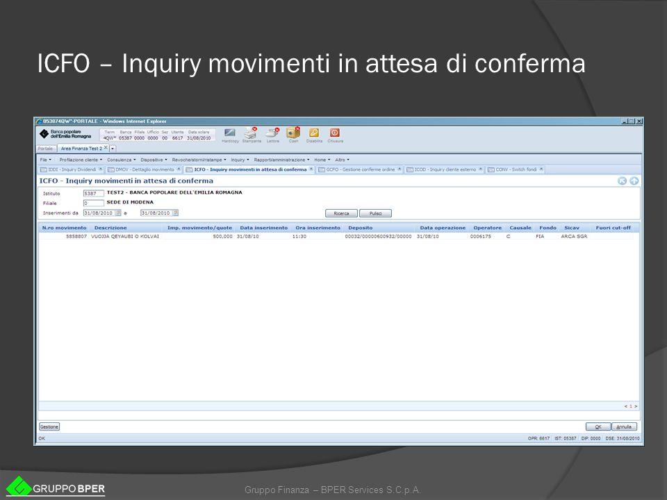 ICFO – Inquiry movimenti in attesa di conferma