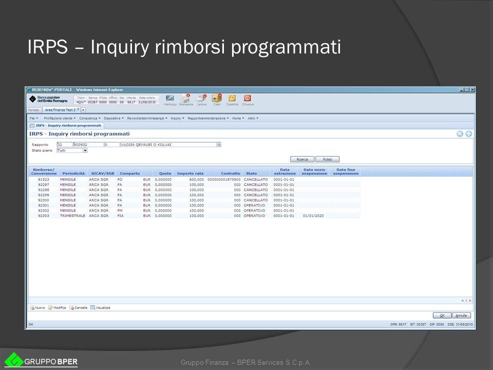 IRPS – Inquiry rimborsi programmati