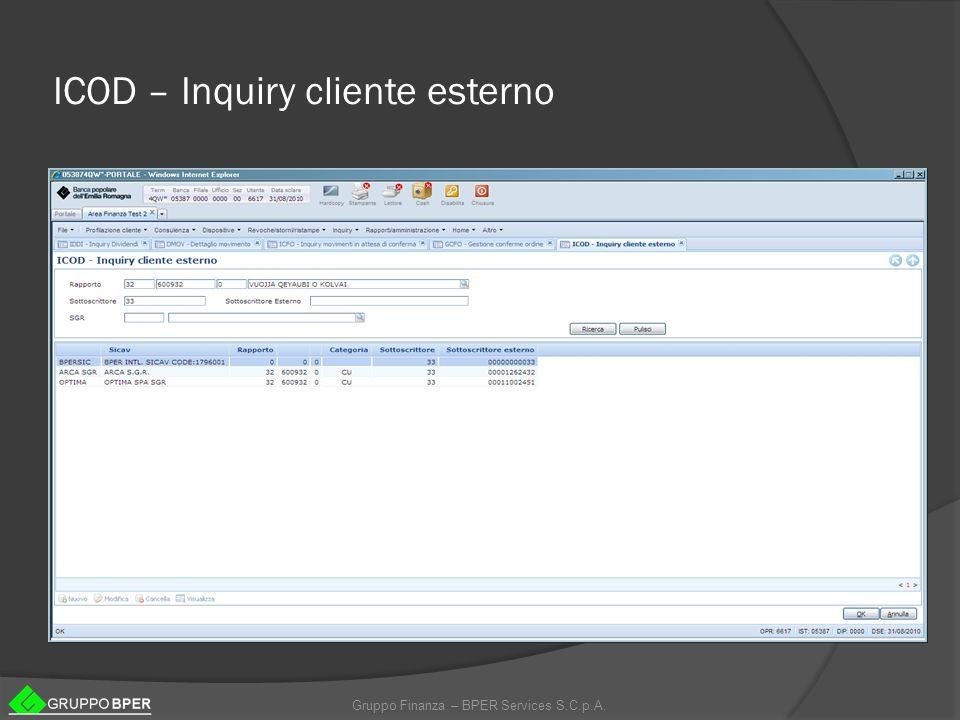 ICOD – Inquiry cliente esterno