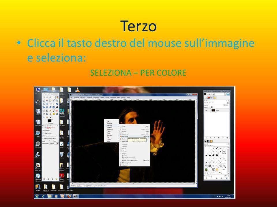 Terzo Clicca il tasto destro del mouse sull'immagine e seleziona: