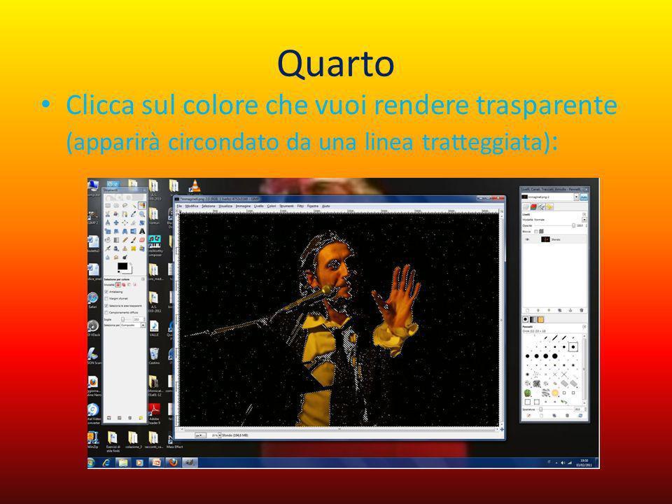 Quarto Clicca sul colore che vuoi rendere trasparente (apparirà circondato da una linea tratteggiata):