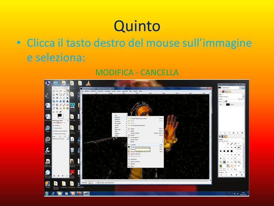Quinto Clicca il tasto destro del mouse sull'immagine e seleziona:
