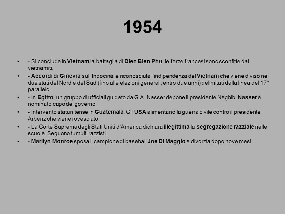 1954 - Si conclude in Vietnam la battaglia di Dien Bien Phu: le forze francesi sono sconfitte dai vietnamiti.