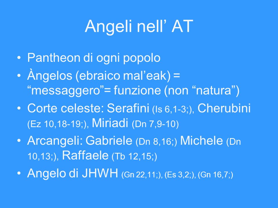 Angeli nell' AT Pantheon di ogni popolo