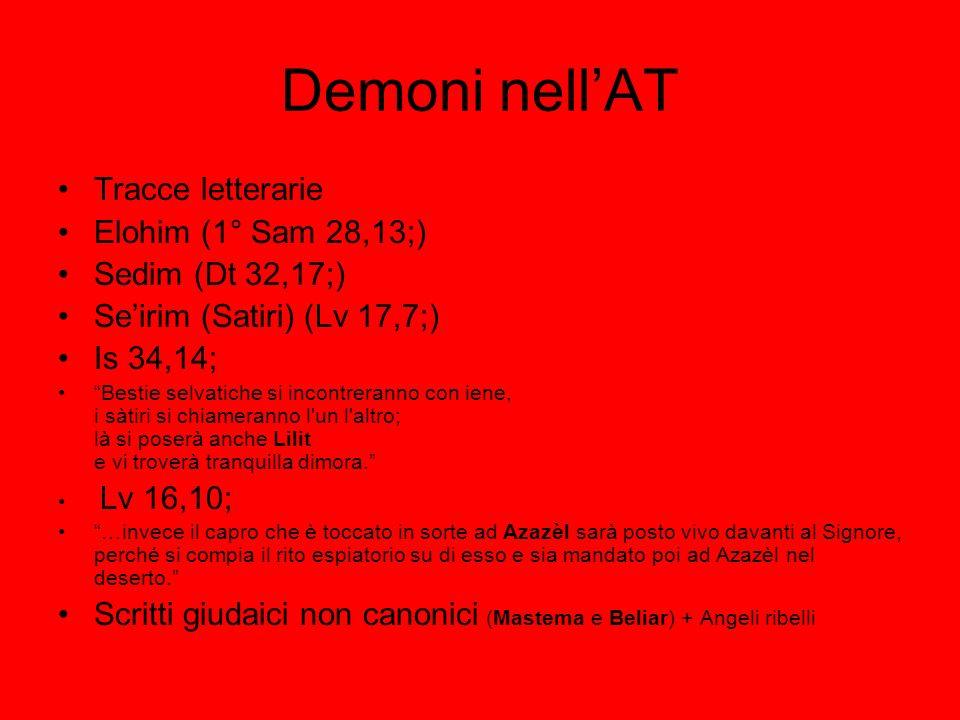 Demoni nell'AT Tracce letterarie Elohim (1° Sam 28,13;)