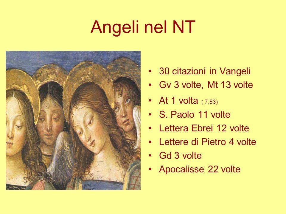 Angeli nel NT 30 citazioni in Vangeli Gv 3 volte, Mt 13 volte