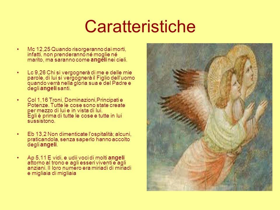 CaratteristicheMc 12,25 Quando risorgeranno dai morti, infatti, non prenderanno né moglie né marito, ma saranno come angeli nei cieli.