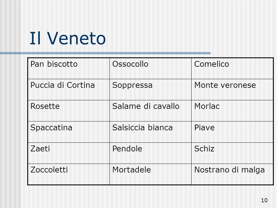 Il Veneto Pan biscotto Ossocollo Comelico Puccia di Cortina Soppressa