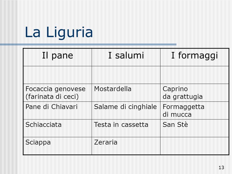 La Liguria Il pane I salumi I formaggi
