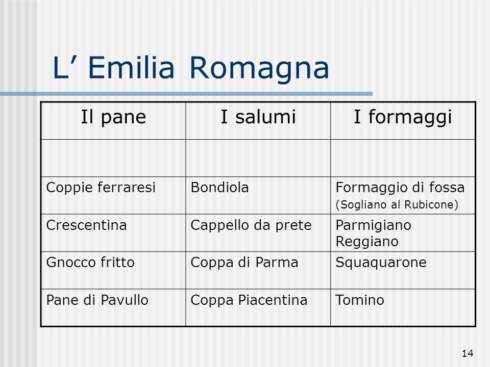 L' Emilia Romagna Il pane I salumi I formaggi Coppie ferraresi