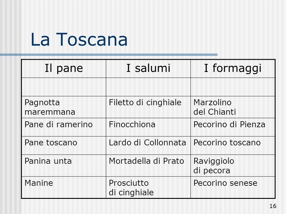 La Toscana Il pane I salumi I formaggi Pagnotta maremmana